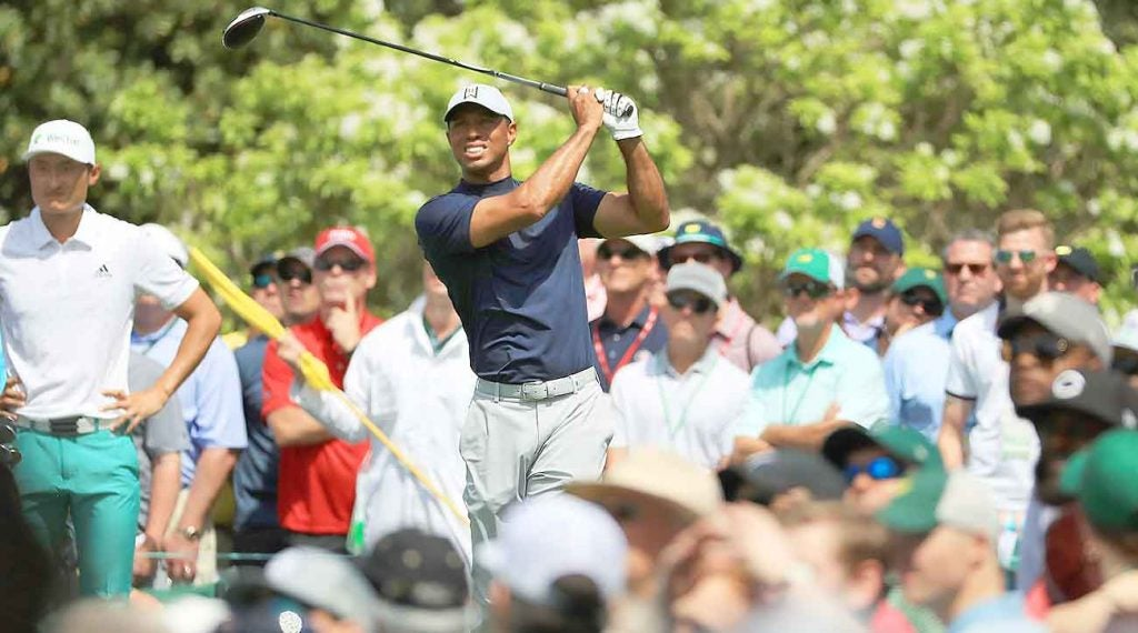 Tiger Woods drove it into a fairway bunker on No. 5 on Thursday and eventually made a bogey.
