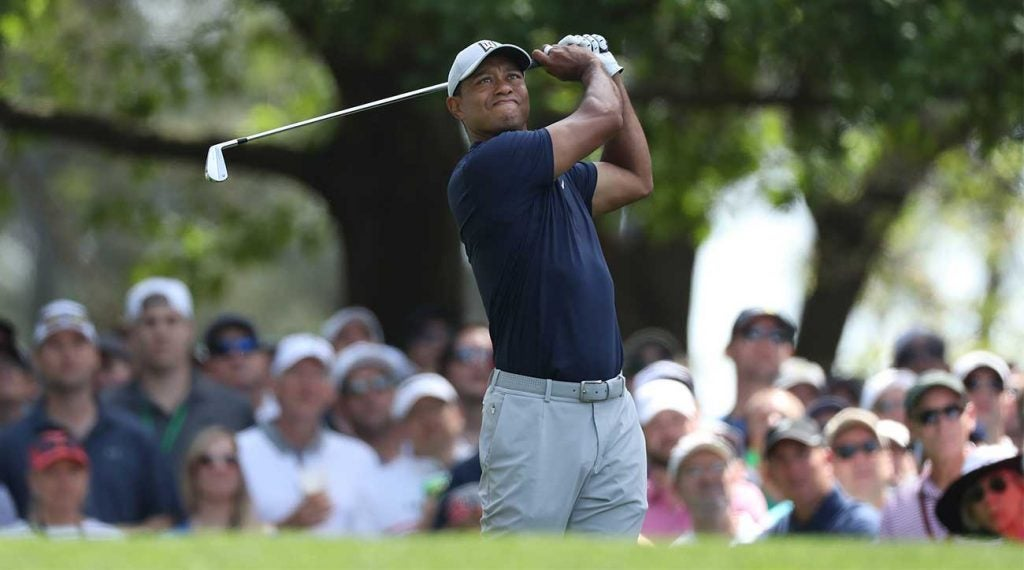 Tiger Woods watches a shot during the opening round of the Masters on Thursday at Augusta National Golf Club.