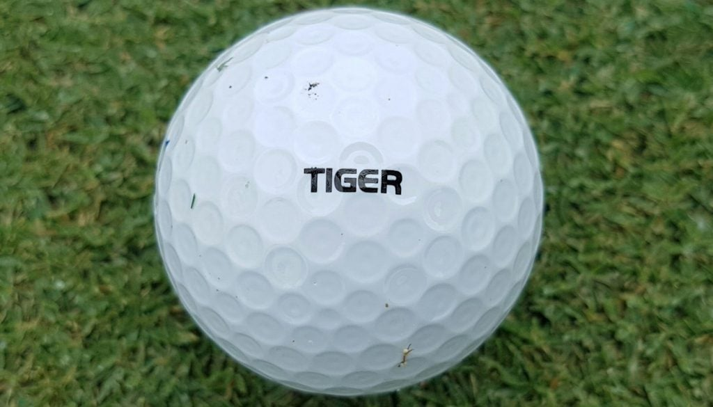 Tiger Woods' Bridgestone Tour B XS golf ball.