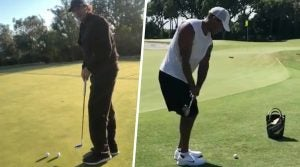 Tiger Woods Phil Mickelson practice greens