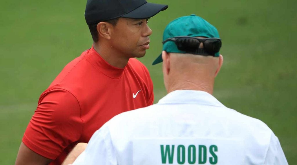 Tiger Woods' caddie Joe LaCava was rocking a Saquon Barkley Giants jersey on Sunday.