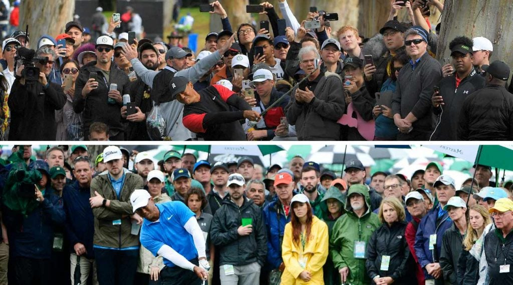 There's a visible difference in the way fans watch at the Genesis Open (top) and the Masters (bottom).