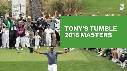 Tony Finau celebrates hole-in-one at The Masters in 2018.