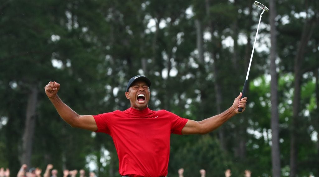 Rebecca Thomson's drawing of Tiger Woods' celebration is pretty darn accurate.