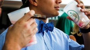 A Masters patron with a bowtie.