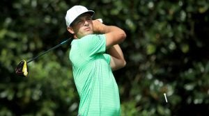 Bryson DeChambeau tees off during a Masters practice round.