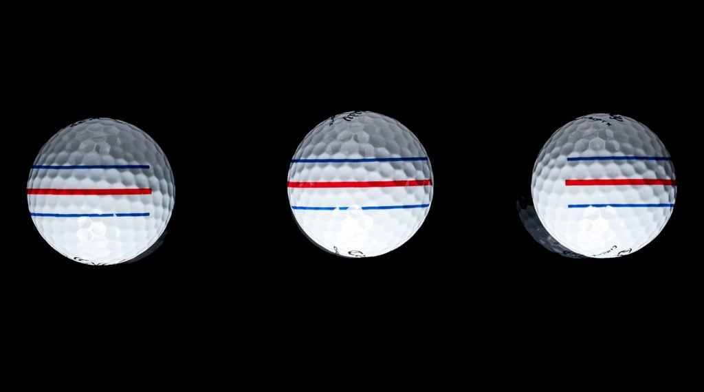 A closer view of the Triple Track technology on the Chrome Soft X balls.
