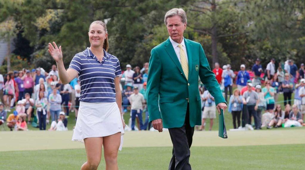 Fred Ridley walks alongside the winner of the Augusta National Women's Amateur, Jennifer Kupcho.