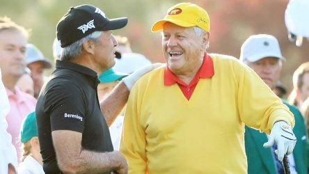 Jack Nicklaus and Gary Player share a laugh following the ceremonial tee shot at the 2019 Masters.