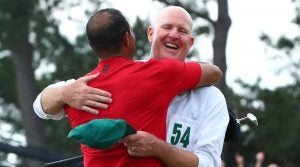 Joe LaCava and Tiger Woods at the 2019 Masters