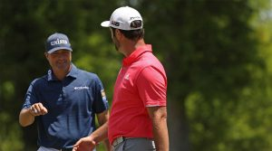Ryan Palmer and Jon Rahm celebrate during the final round of the Zurich Classic on Sunday.