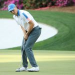Jordan Spieth reacts to a missed putt during the first round of the Masters.