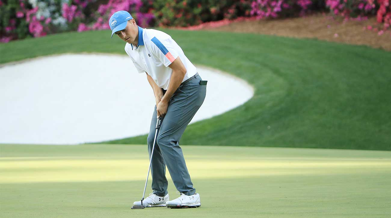 0acf501e58ed59 Jordan Spieth reacts to a missed putt during the first round of the Masters.