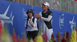 Jin Young Ko thanks the crowd during her final round of the ANA Inspiration.