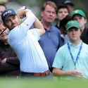 Louis Oosthuizen swings during a Masters practice round.