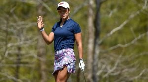 Maria Fassi waves to the crowd at the Augusta National Women's Amateur on Wednesday.
