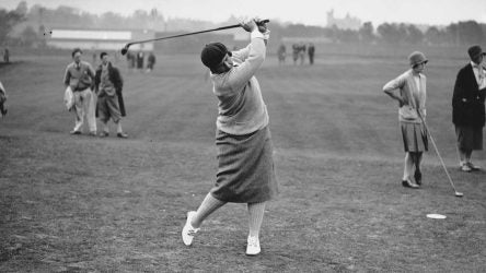 American amateur golfer Marion Hollins hits a drive during the second day of the 1929 Ladies Open Golf Championship in St. Andrews, Scotland.