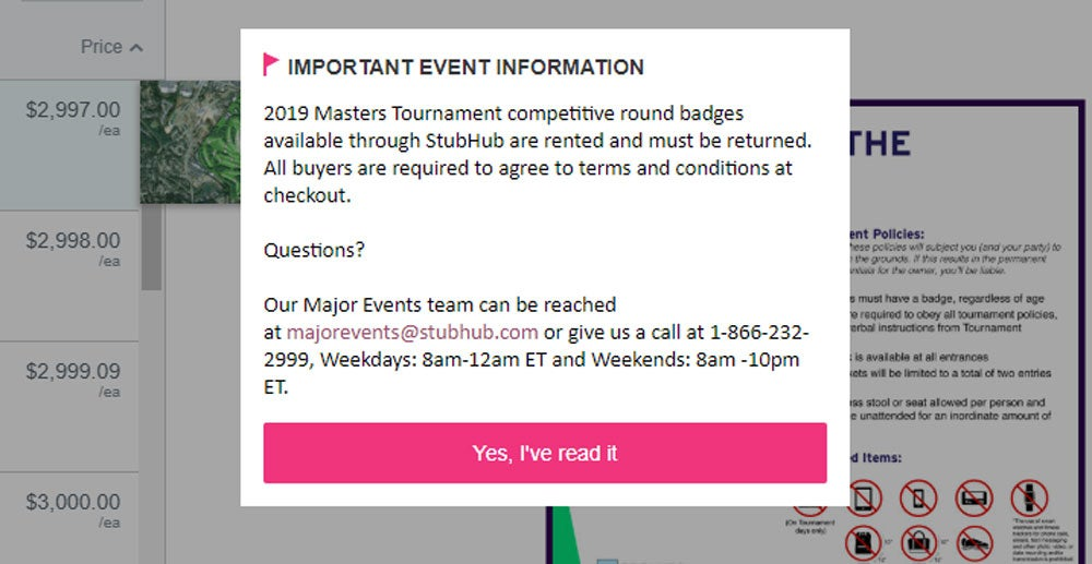 Prospective Masters ticket buyers are shown this warning on Stubhub.com.