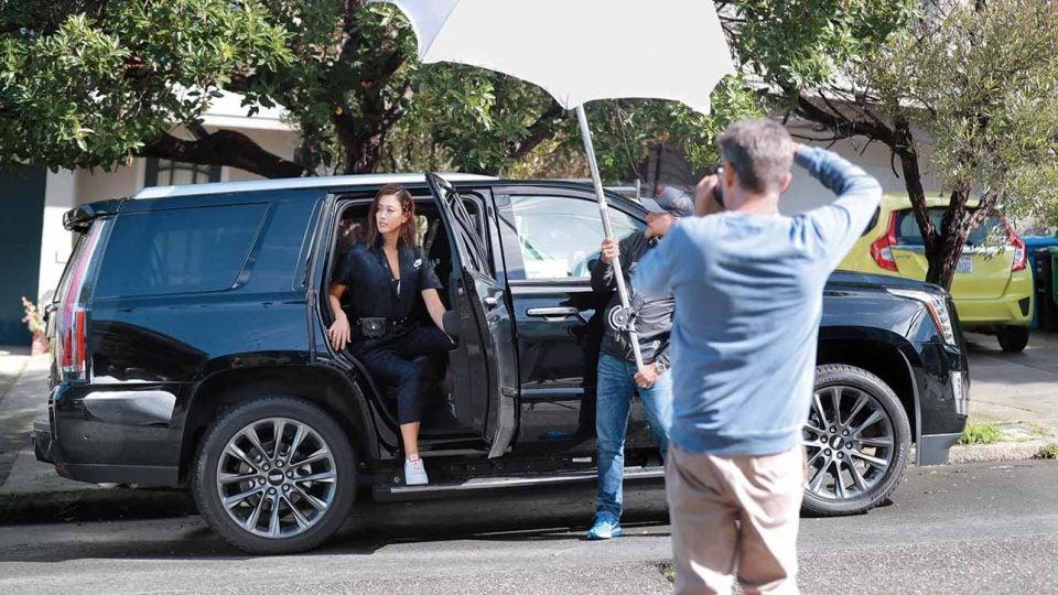 Michelle Wie on set at her GOLF Magazine shoot.