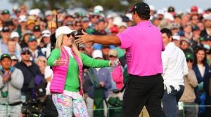 Patrick Reed's family: with wife Justine at Masters