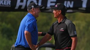 Scott Hoch and Tom Pernice Jr. shake hands after winning the PGA Tour Champions' Bass Pro Shops Legends of Golf at Big Cedar Lodge on Sunday.
