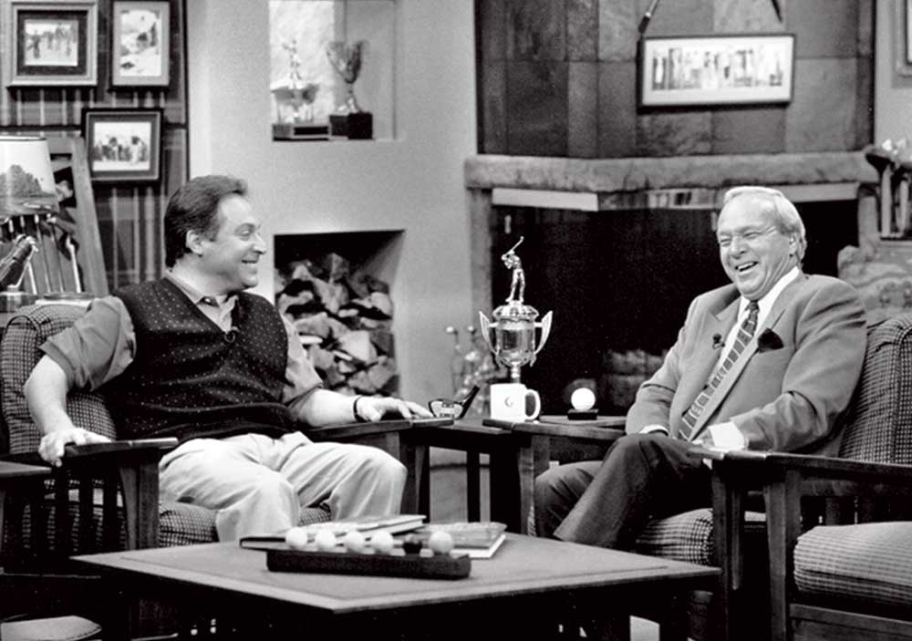 Peter Kessler and Arnold Palmer on the set of Golf Talk Live for the January 1995 launch of Golf Channel.