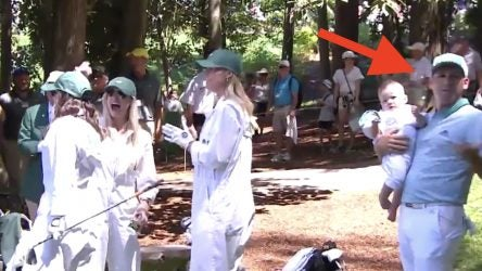 Sergio Garcia's wife hit a shot tight during the Masters Par 3 Contest and forgot about her Masters-winning husband during the celebrations.