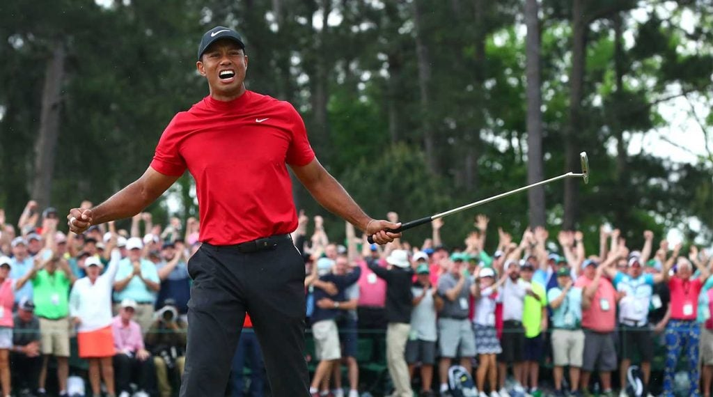 Tiger Woods celebrates his Masters victory.
