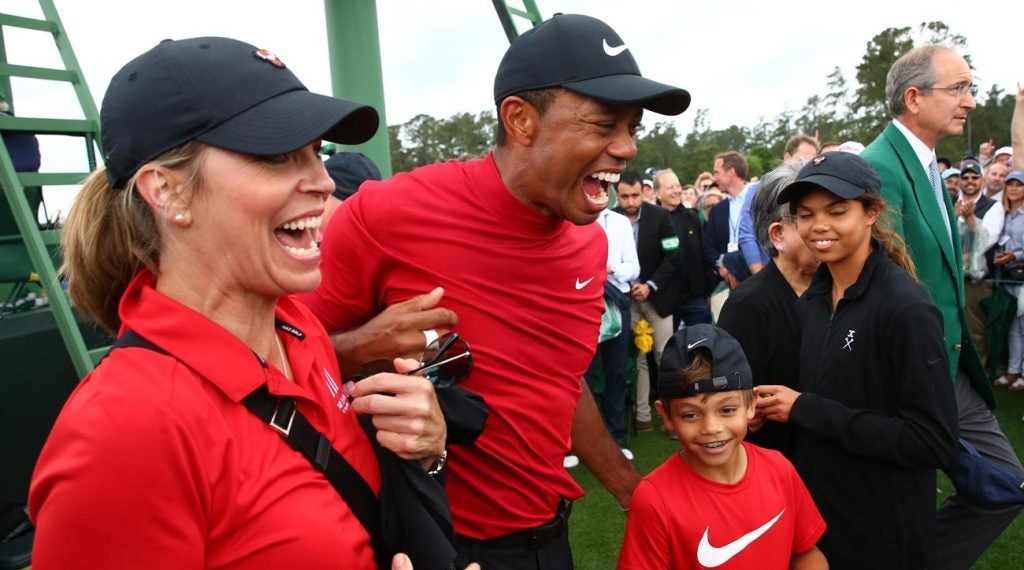 Tiger celebrated with friends and family after the round.