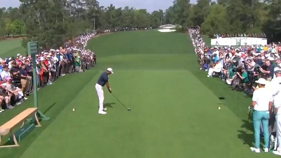 masters 2019  tiger woods hits opening fairway  augusta