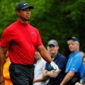 Tiger Woods walks down the fairway on Masters Sunday.