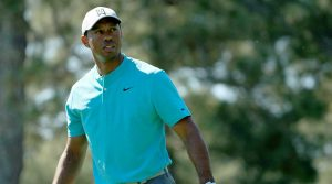 Tiger Woods tees off on Wednesday at the 2019 Masters.