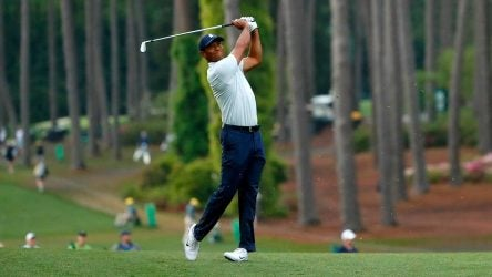 Tiger Woods hits a tee shot during the second round of the Masters on Friday.