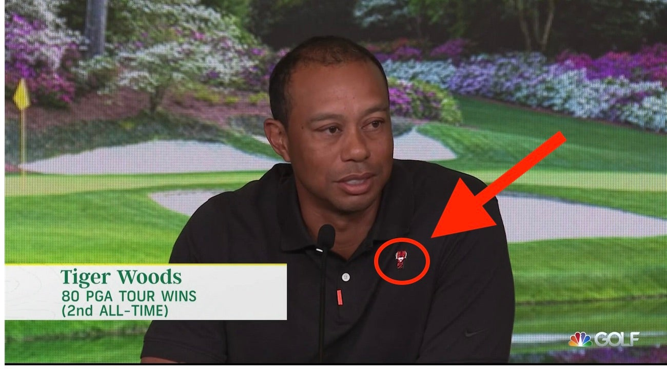 e68477fdb003e Masters 2019  People are freaking out about the new logo on Tiger Woods   shirt