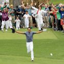 Tony Finau celebrates his ace during the 2018 Masters Par-3 Contest.