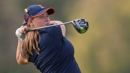 Tristyn Nowlin tees off during a tournament.