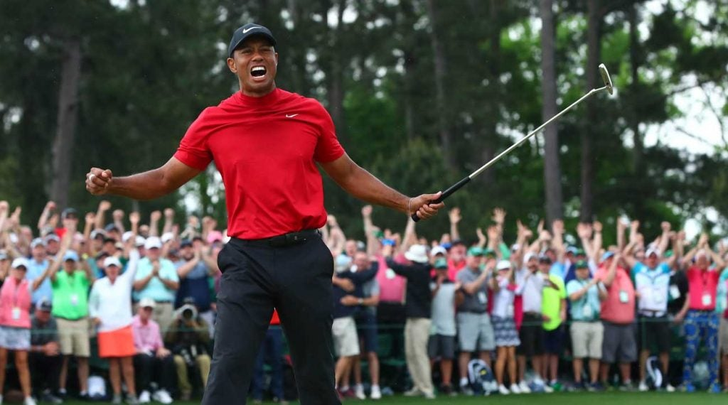 Tiger Woods reacts immediately after clinching the Masters.