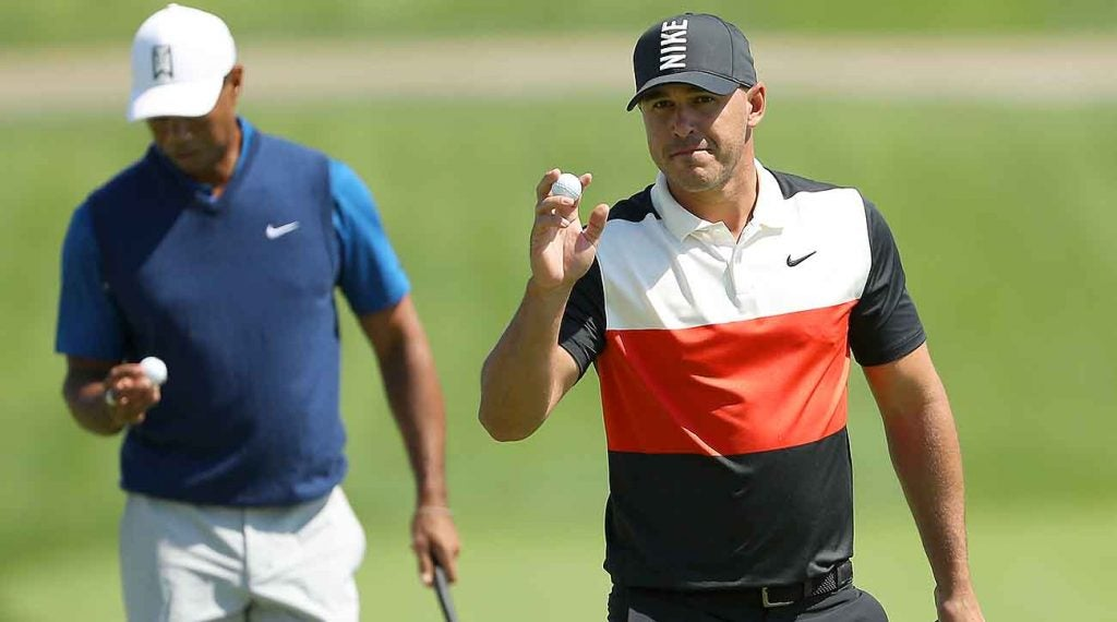 Koepka dusted Woods by nine shots in Thursday's opening round.