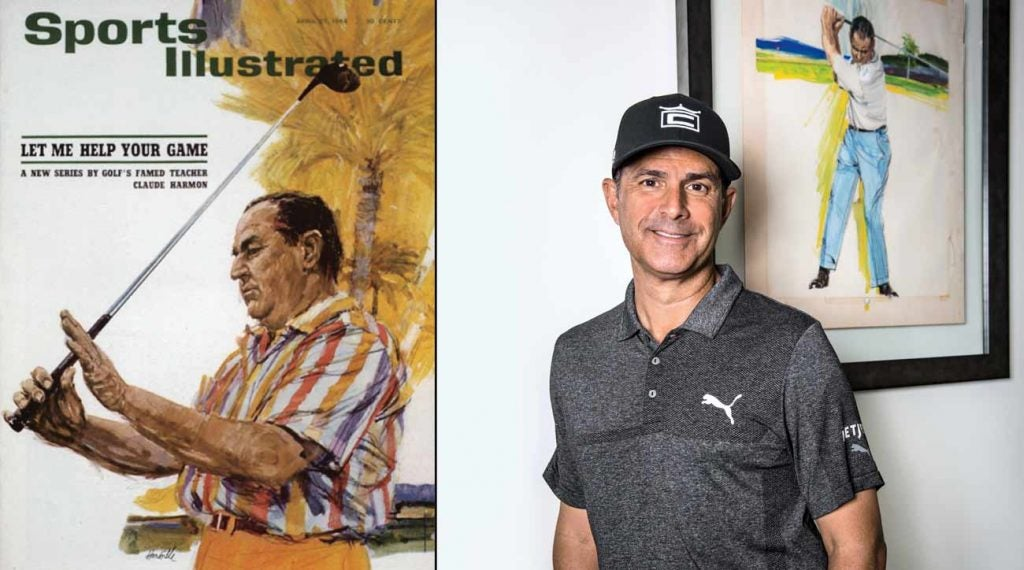 Claude Harmon on the cover of Sports Illustrated in 1964 (left) and Claude Harmon III (right).