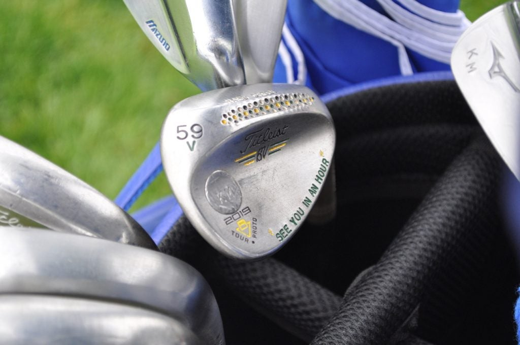 Keith Mitchell still has the Masters on his mind. The deep crescent shape in the sole has the words