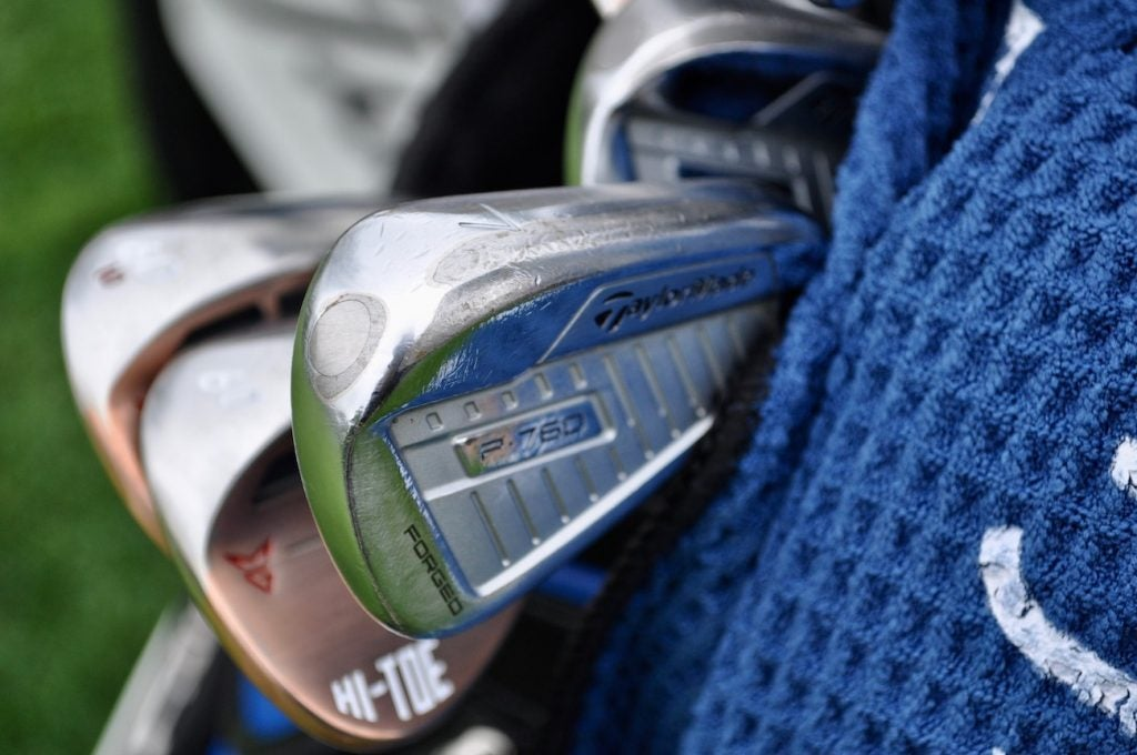 Tungsten slugs are visible in the toe of Jason Day's one-off TaylorMade P760 irons.