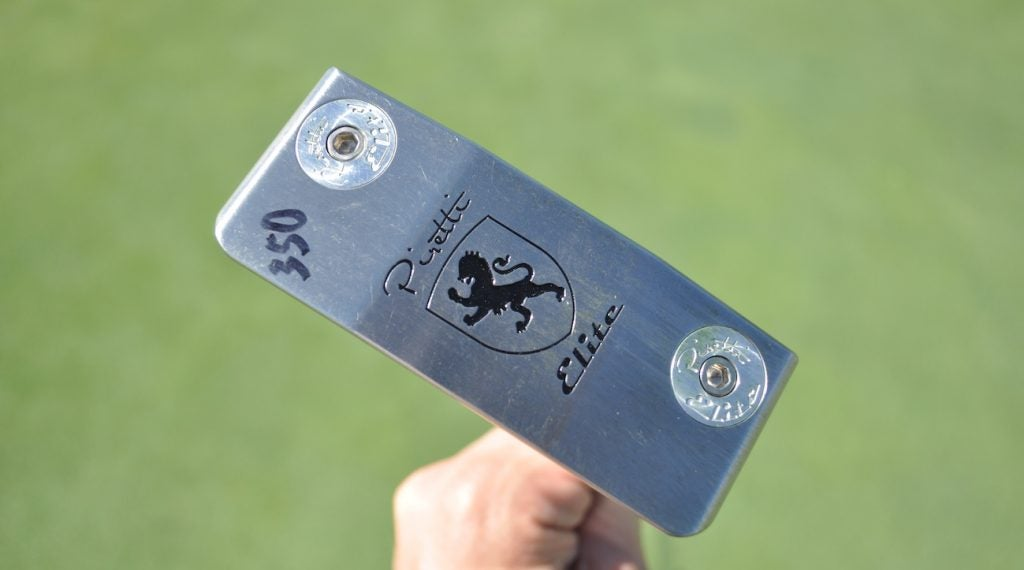 The sole of Tony Finau's Piretti Matera Elite putter.