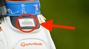 BETHPAGE, NEW YORK - MAY 14: A detailed view of a TaylorMade bag is seen during a practice round prior to the 2019 PGA Championship at the Bethpage Black course on May 14, 2019 in Bethpage, New York. (Photo by Stuart Franklin/Getty Images)