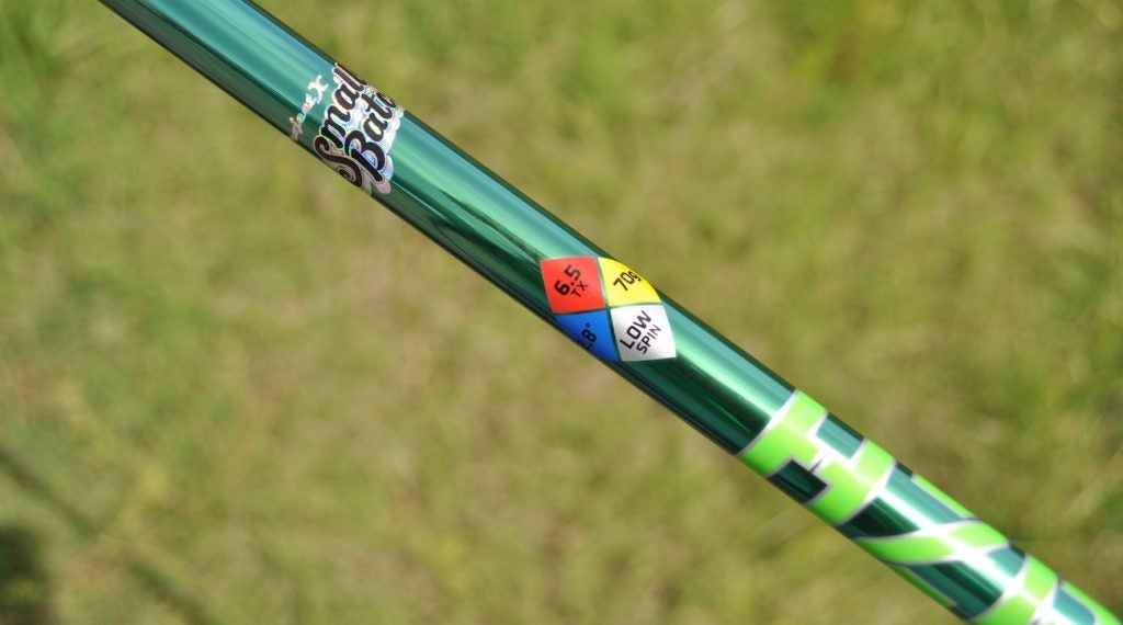 A closer look at the graphics on Project X's HZRDUS Smoke Green shaft.