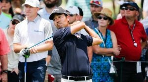 Kevin Na watches a tee shot during the final round of the Charles Schwab Challenge on Sunday in Fort Worth, Texas.
