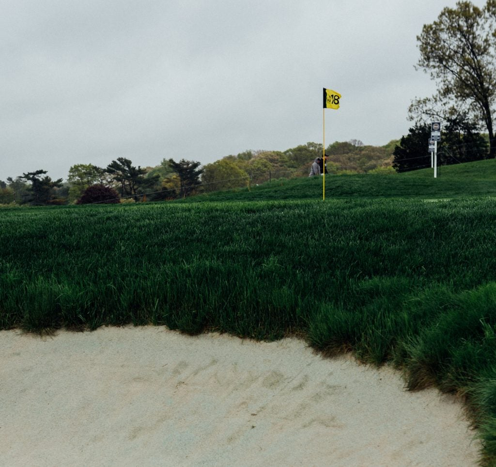 A low-down view of the 18th green.