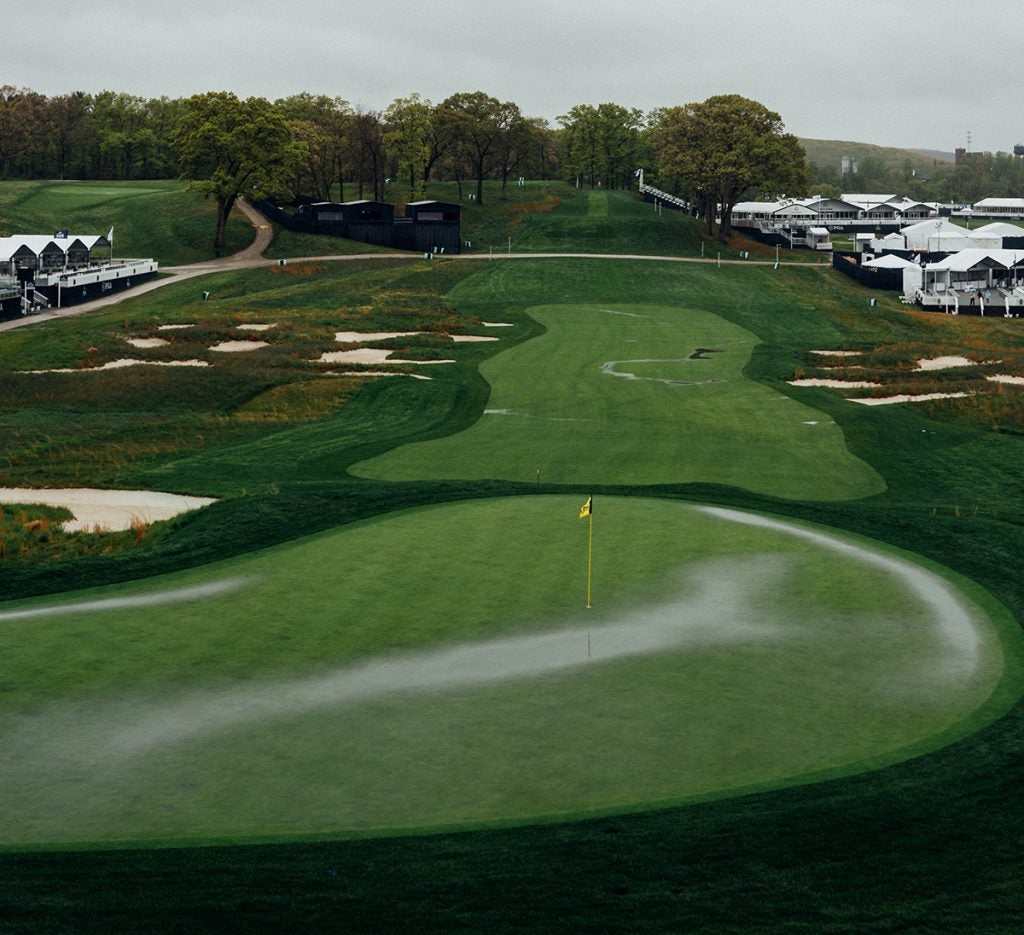 Pools of water collect on the 18th hole.