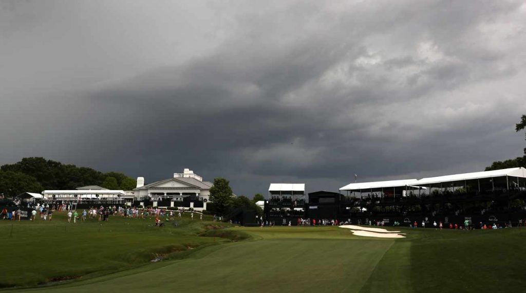 It was a threatening afternoon at the Wells Fargo Championship.