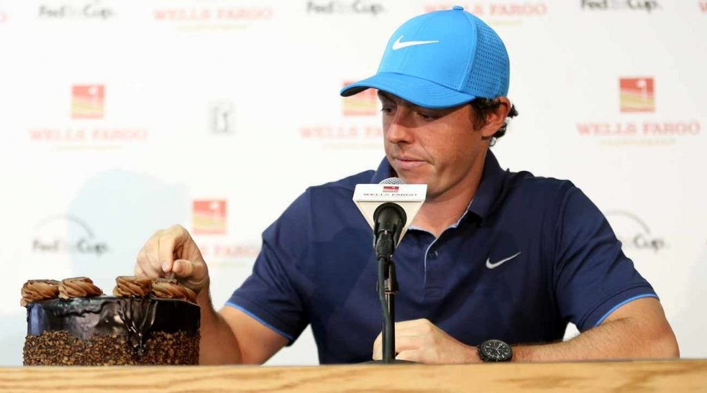 Rory McIlroy was presented with a birthday cake at the 2016 Wells Fargo Championship.