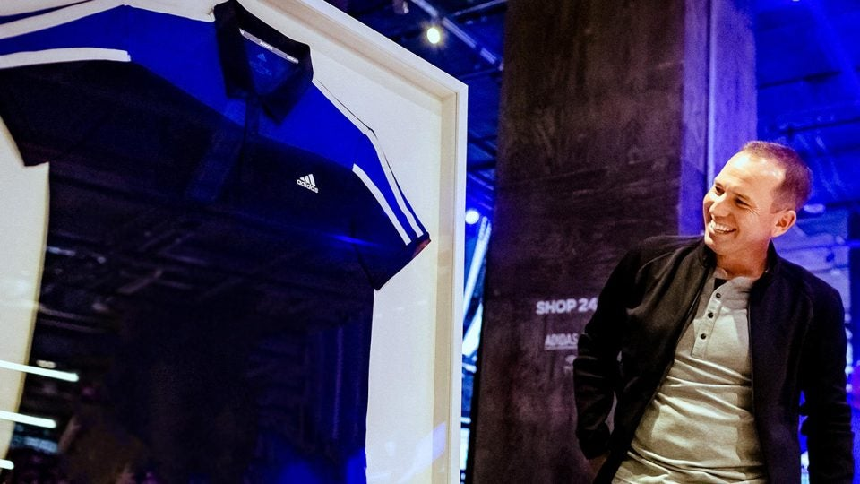 Sergio Garcia unveils his special edition Adidas 365 polo at the New York flagship store.
